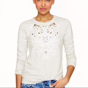 J. CREW Cutout Floral Sweatshirt Heather Oatmeal